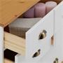 Commode apothicaire COLMAR en pin massif, 11 tiroirs, lasuré blanc et brun