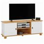 Meuble TV en pin BELFORT, 2 portes + 2 niches, lasuré blanc et brun