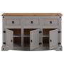 Buffet RAMON avec 3 tiroirs et 3 portes, style mexicain en pin massif gris et brun