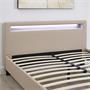 Lit double PINOT, 140 x 190 cm, avec LED intégrées et sommier, revêtement synthétique brun