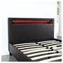 Lit simple MIRANDO, 120 x 190 cm, avec LED intégrées et sommier, revêtement synthétique noir