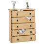 Commode en pin BARRIO, 5 tiroirs en pin massif finition teintée/cirée
