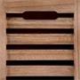Banc de rangement TRIENT, 3 caisses, gris et finition bois naturel