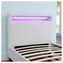 Lit simple LUCENO, 90 x 190 cm, avec LED intégrées et sommier, revêtement synthétique blanc