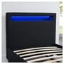 Lit simple MOLINA, 90 x 190 cm, avec LED intégrées et sommier, revêtement en tissu noir