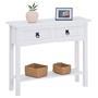 Table console RURAL avec 2 tiroirs, style mexicain en pin massif blanc