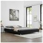 Lit futon double NIZZA, 180 x 200 cm, avec sommier, revêtement en tissu noir