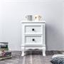 Table de chevet ELEGANTE au style baroque, 2 tiroirs, blanc